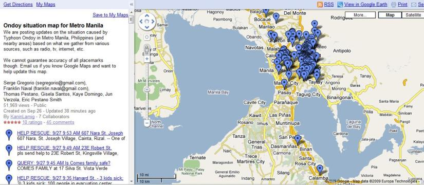Find where you can help: Typhoon Ondoy Situation Map