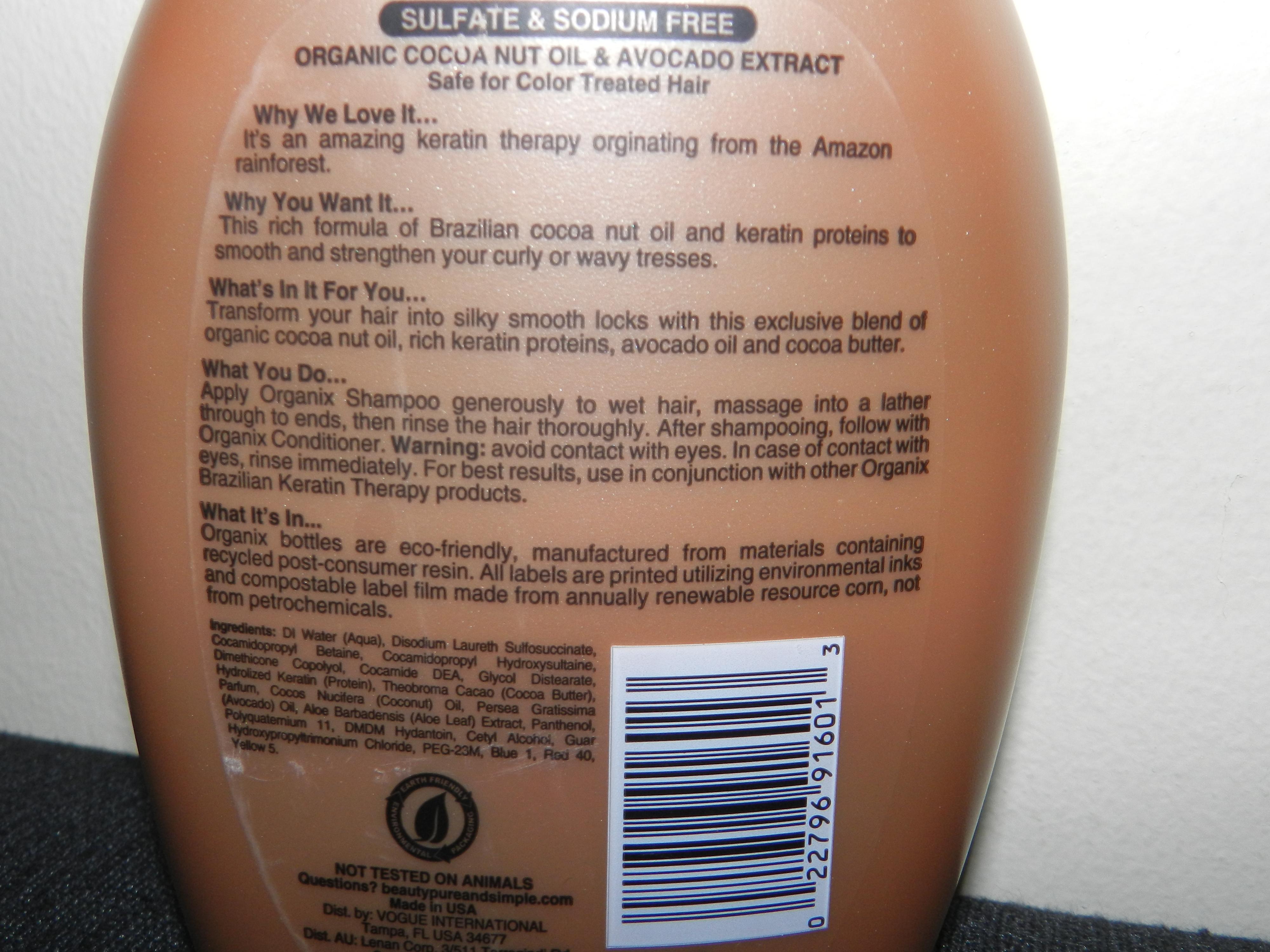 Keratin shampoo ingredients